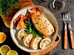 Пълнени печени калмари с гъби и ориз на фурна - снимка на рецептата